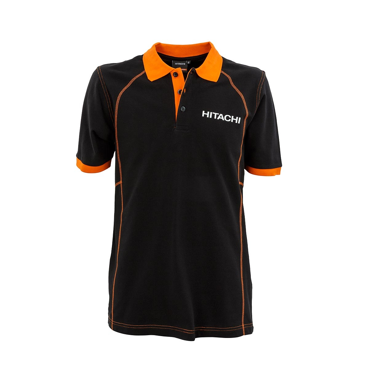 Polo T-shirt 12.02 black with orange collar for men - HCME ...